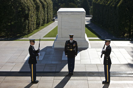 Changing of the guard at Arlington National Cemetery.