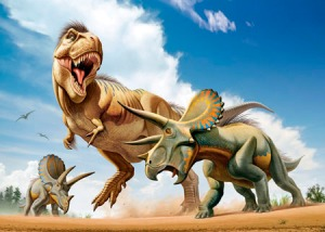 Tyrannosaurus Rex fighting with two Triceratops.