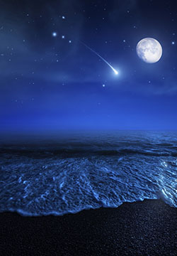 Starry sky, moon and falling meteorite.